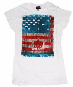 Ladies - Space Invaders - Distressed effect American flag t shirts