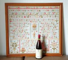 SUPERB LARGE VICTORIAN SAMPLER 10 CHILDREN BIRTHDATES GRAHAM FAMILY HAWKSHEAD