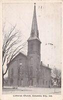 B17/ Columbia City Indiana In Postcard 1937 Lutheran Church