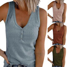Womens Summer Loose V Neck Button T Shirt Tops Sleeveless Solid Casual Tank Top