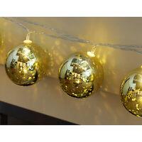BATTERY POWERED INDOOR HANGING XMAS GOLDEN BAUBLE BALL FAIRY STRING LED LIGHT UK