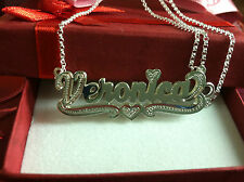 NAME DOUBLE PLATE SILVER PERSONALIZED CHOOSE ANY NAME NECKLACE(Made in USA)**