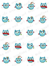 20 Nail Decals * WINTER OWLS ASSORTMENT * XMAS Water Slide Nail Art Decals  CUTE