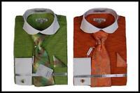 New Daniel Ellissa Jacquard White Collar French Cuffs Dress Shirt,Tie DS3759P2