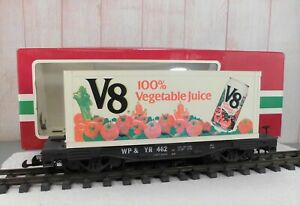 "LGB (41850)  V8 100% VEGETABLE JUICE TRAILER ON ""WP & YR"" FLAT CAR"