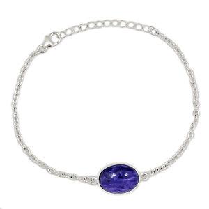 Charoite 925 Sterling Silver Bracelet Jewelry ALLB-8