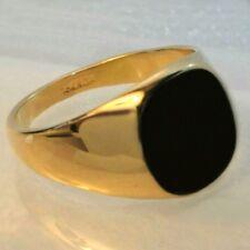 Mens 18K yellow  gold plated  black Onyx  signet Ring, Various sizes  /UK