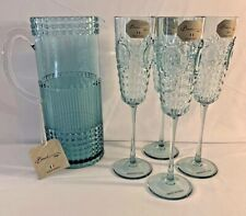 Set of 4 Baci Milano Baroque Acrylic Champagne Flutes  & Mixing Pitcher  5 Pcs.