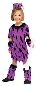 Fun World Dino Diva Toddler Costume Purple, Black Size 2T Pebbles Flintstones