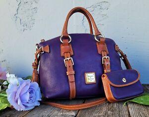 DOONEY &BOURKE BRISTOL dome PEBBLE LEATHER SATCHEL WRISTLET purse handbag purple