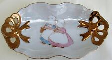 Vintage Holly Hobbie-like Porcelain Trinket Dish / Candy Dish  with Gold Trim