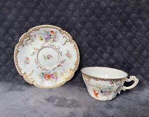 Antique Vintage Helena Wolfsohn Dresden Flowers Gilt Porcelain Cup & Saucer