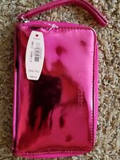 NEW VICTORIA'S SECRET ZIP AROUND WALLET HOT PINK METALLIC CLUTCH ORGANIZER