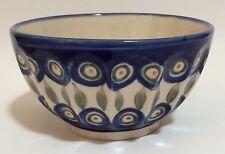 Momo Panache Boleslawiec Bowl Handmade In Poland Blue Green Circles Dots Leaves