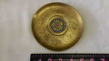 "5.25"" Round Solid Brass Etched Design Vtg Dish Chinese Dragon Enameled Center"