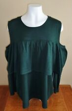 Ruff Hewn Grey Women's Plus Size 3X Dark Green Cold Shoulder Sweater NEW