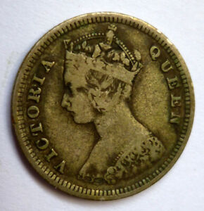 Hong Kong 1894 Victoria 10 Cents 0.800 Fine Silver 'UNCLEANED' 'aEF-EF'.