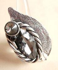 Large Crystal Antique Silver Leaf Stretch Fashion Statement Ring Gift Bag