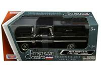 MotorMax 1:24 1966 Chevrolet C10 Fleetside Pickup Truck Diecast Black 73355