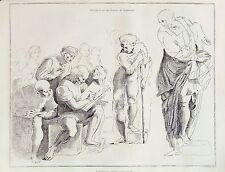 Disegno, Schizzi di Raffaello-ORIGINALE 1850 antico stampa incisione B/W
