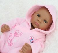 11 inch  Lovely Reborn Brown Baby Doll Girl Full Body Solid Silicone Newborn Toy