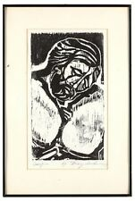 Crucifixion - contemporary woodblock print AP - mounted and framed
