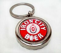IRON CITY Beer Can / Bottle Cap Opener Key Chain / Key Ring Handmade