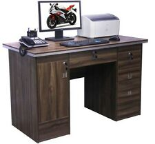 Computer Desk PC Table Home Office Furniture Workstation in WalnutClr With Locks