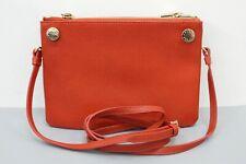Furla Gray & Orange Saffiano Leather Two-Tone Small Crossbody Bag