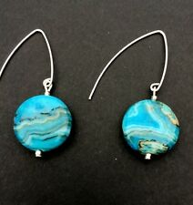 BLUE CRAZY LACE AGATE Dangle Sterling Silver Earrings .Handmade 9/21/2