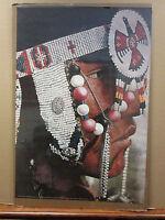 Vintage Indian Profile original Native American headress poster  9821