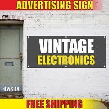 VINTAGE ELECTRONICS Banner Advertising Vinyl Sign Flag pawn shop records games