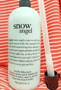 Philosophy Sweetly Fallen SNOW ANGEL Shower Gel Shampoo Bubble Bath Pump 32oz