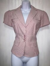 Womens Ann Taylor Size 6 White Red Pinstripe Short Puff Sleeve Blazer Career NWT
