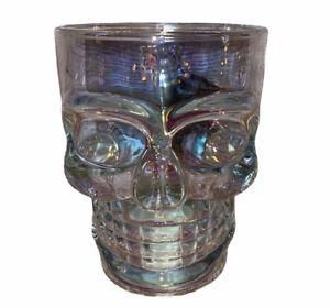 Skull Head Mug Heavy Glass Stein Pearl Luster Kitchen Bar Radiance White Pearl
