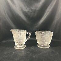 Vintage Clear Pressed Glass Filigree Sugar Creamer Set