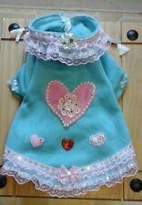 Designer size small/medium dog clothes blue fleece coat & pink & sequins trim.