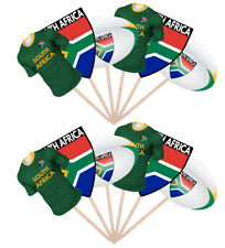 12 Rugby Party Food Cup Cake Picks Sticks Flag Decorations Toppers South Africa