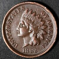 1882 INDIAN HEAD CENT - With LIBERTY & DIAMONDS - XF EF
