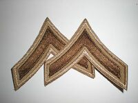 US ARMY WWII SUMMER PFC STRIPES RANK - ORIGINAL ON TWILL -- 1 PAIR