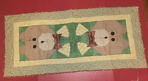 """Teddy Bear Quilted Table Runner Applique 21"""" x 45"""" Brown Yellow Green"""