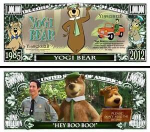 Yogi Bear Million Dollar Bill Play Funny Money Novelty Note + FREE SLEEVE