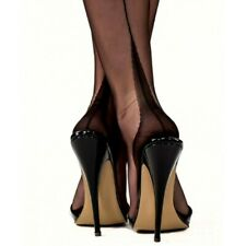 NEW GIO FF Fully Fashioned Point Heel Seamed Nylon Stockings in Black 12.5 XXL