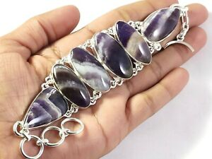 Natural Purple Amethyst Gemstone Handmade fashion Jewelry Silver Bracelet B-266