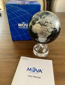 """MOVA Silver Blue Metallic Rotating Motion Globe 4.5"""" Spinning Moving Earth - New"""