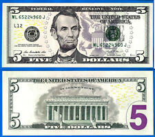 USA 5 Dollars 2013 UNC Mint San Francisco L12 ML Suffix J US Dollar Lincoln Ppal