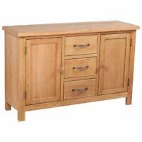 vidaXL Solid Oak Sideboard w/ 3 Drawers 2 Doors Side Storage Cabinet Cupboard
