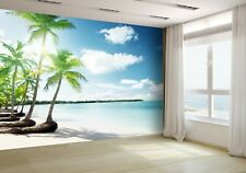 Palms and Caribbean Beach Wallpaper Mural Photo 13313070 premium paper