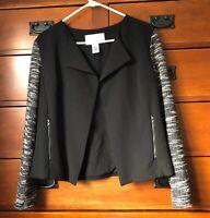 Bar III Womens XXL Black Knit Sleeve Open Front Jacket Cardigan Career Blazer