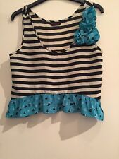 Gorgeous Black And White Striped Green Cami Miss Selfridge Size 8